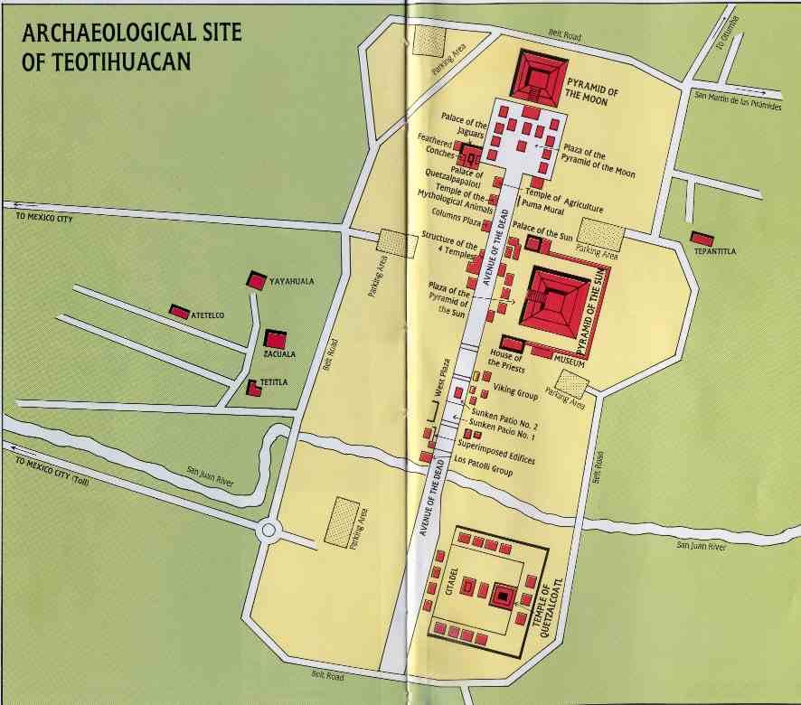 La Mappa delle rovine di Teotihuacan