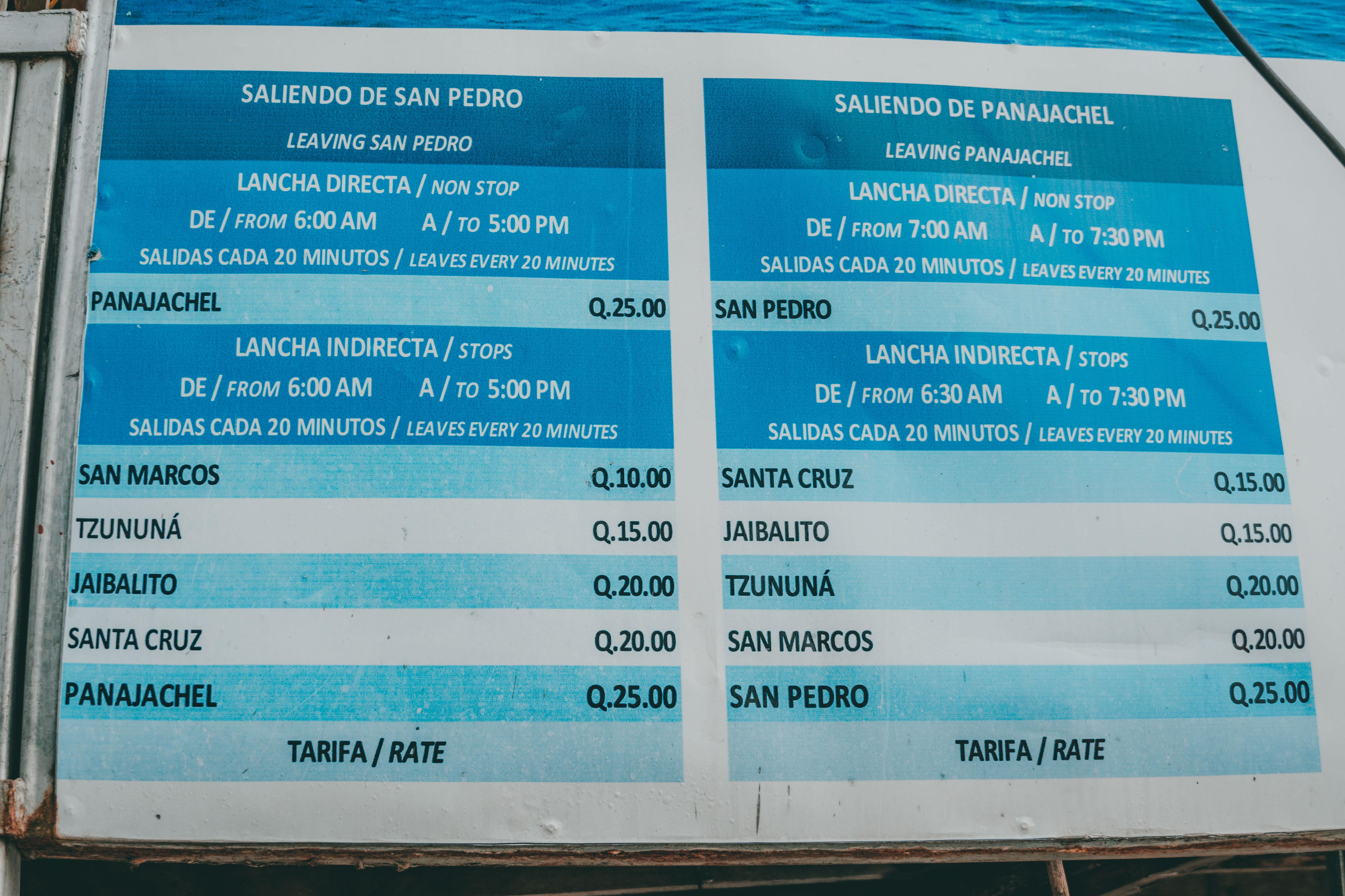 I prezzi delle barche per spostarsi sul Lago Atitlan